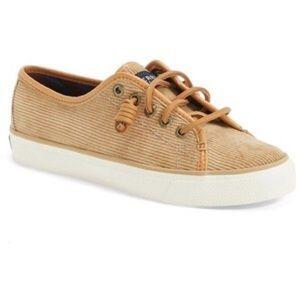 Sperry Seacoast Tan Corduroy Lace Flat Sneaker